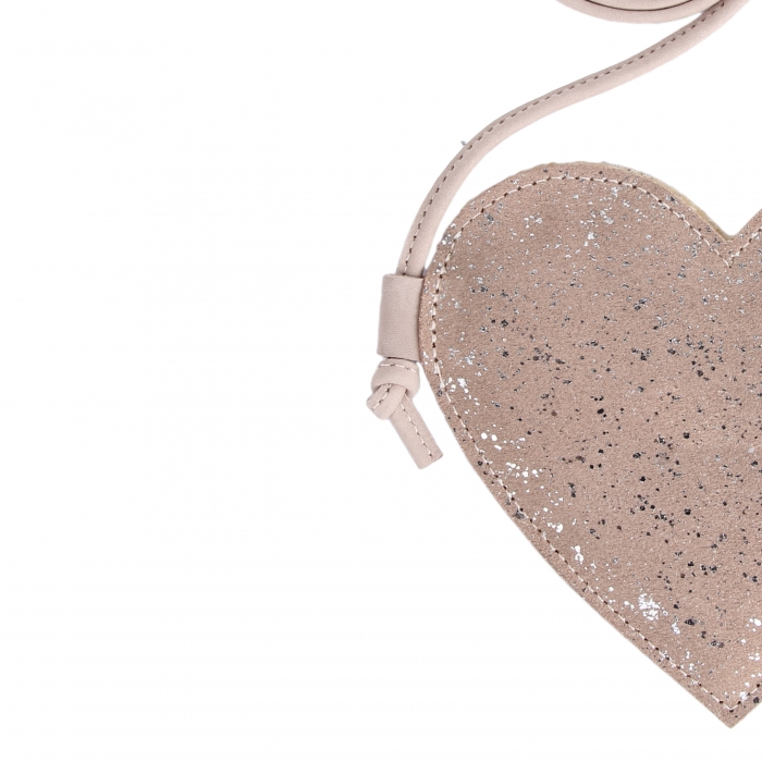 Milo Purse Heart Lilac Metallic Suede