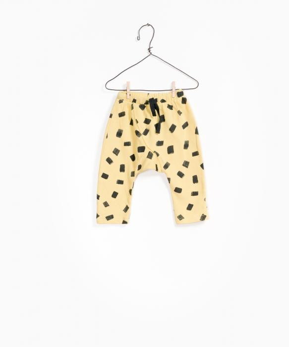 Pantaloni fleece galben cu negru 0