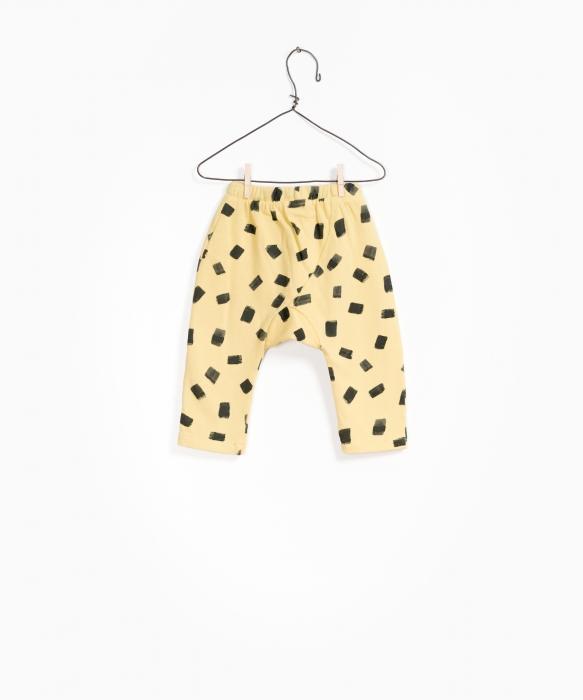 Pantaloni fleece galben cu negru 1
